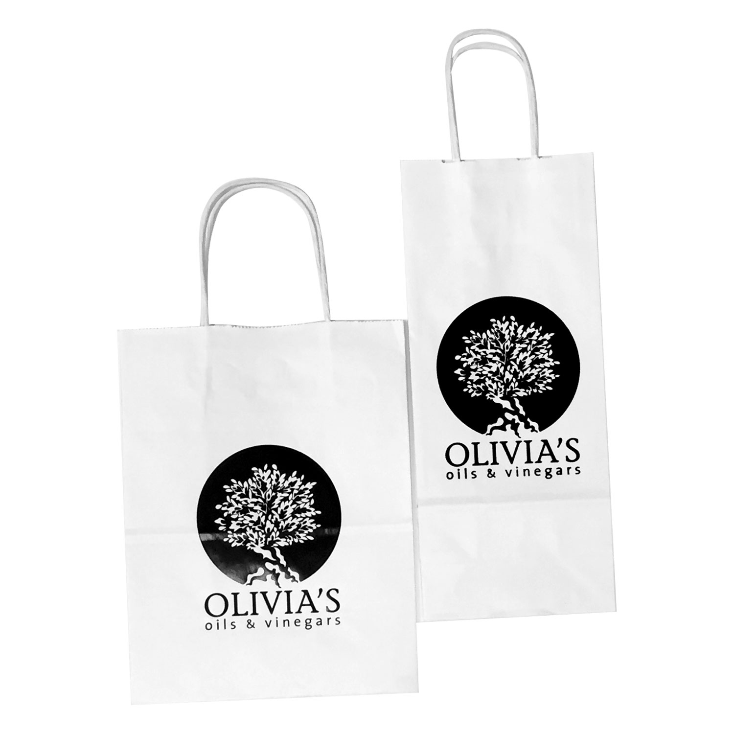 Hot Foil Stamped Kraft Or White Kraft Paper Shopping Bags With