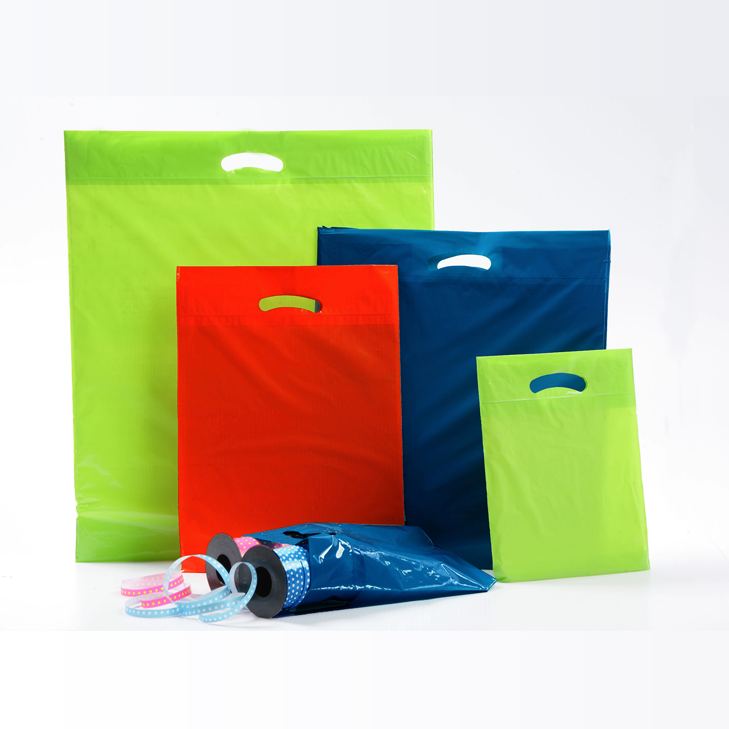 Retail Poly Boutique Bags with die cut handles