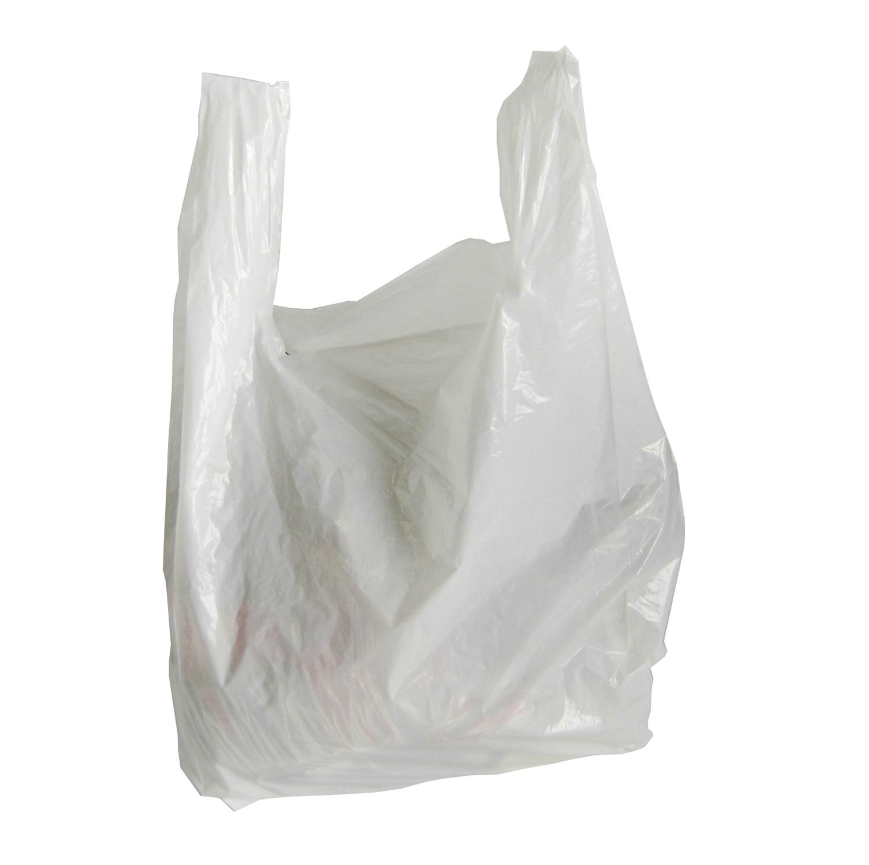 Economy high density white t shirt bags okanagan bag box for Bags for t shirt packaging