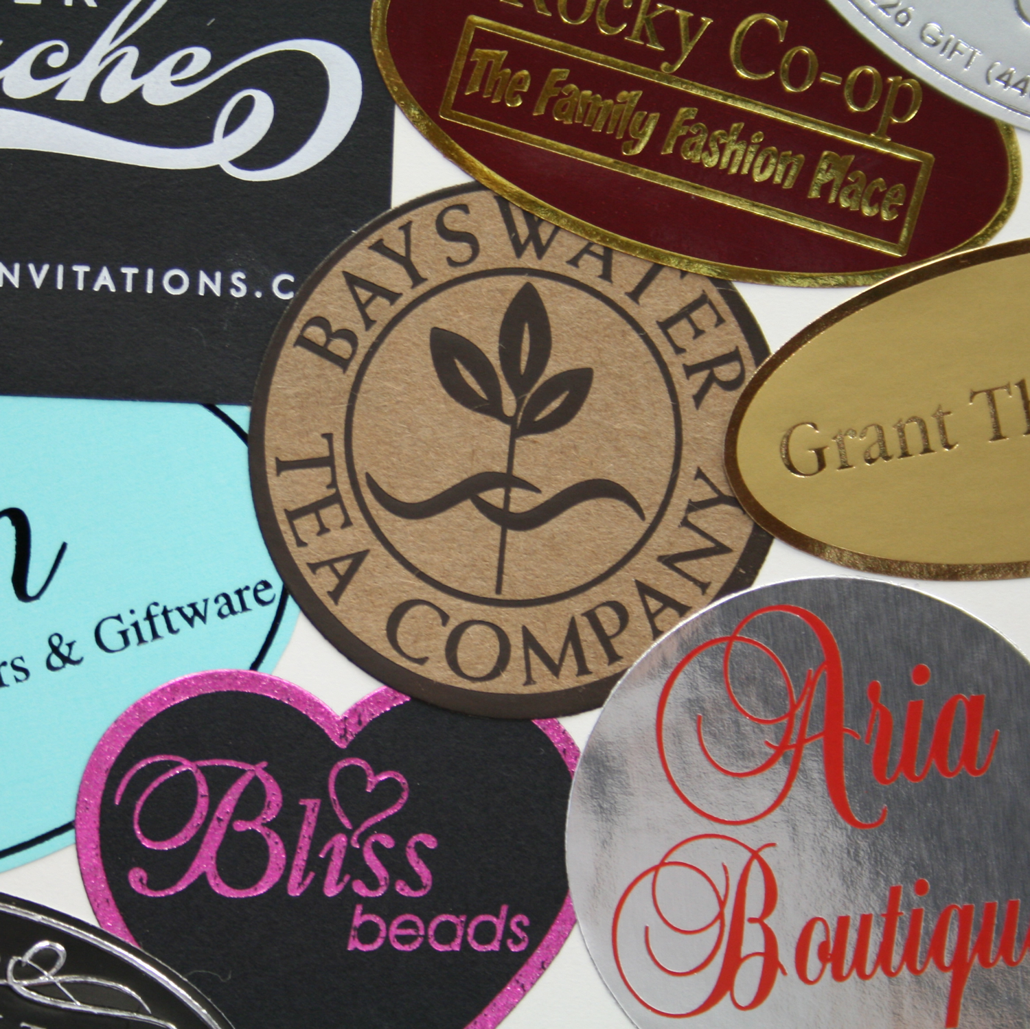 Hot foil stamped custom labels