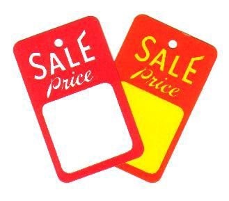 Sale Tags for fastening to garments