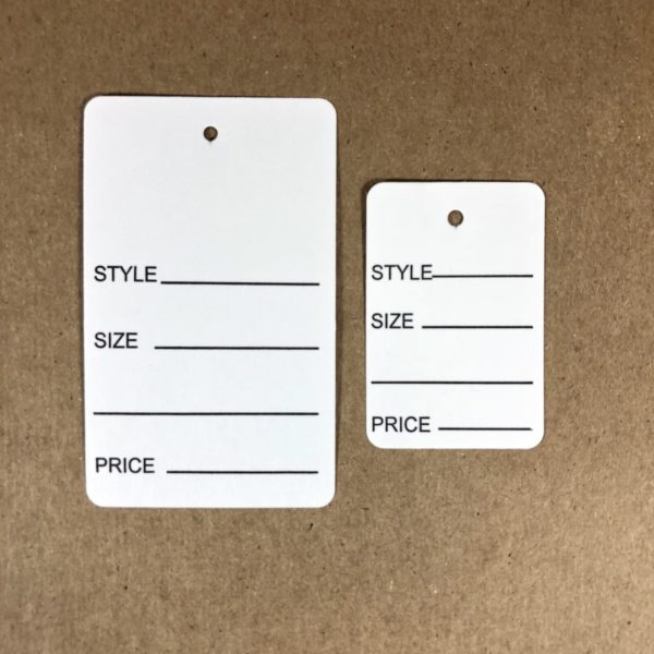 One Part White Marking tags for clothing