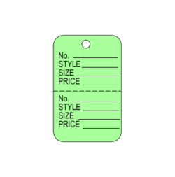 Green two part marking tag for clothing