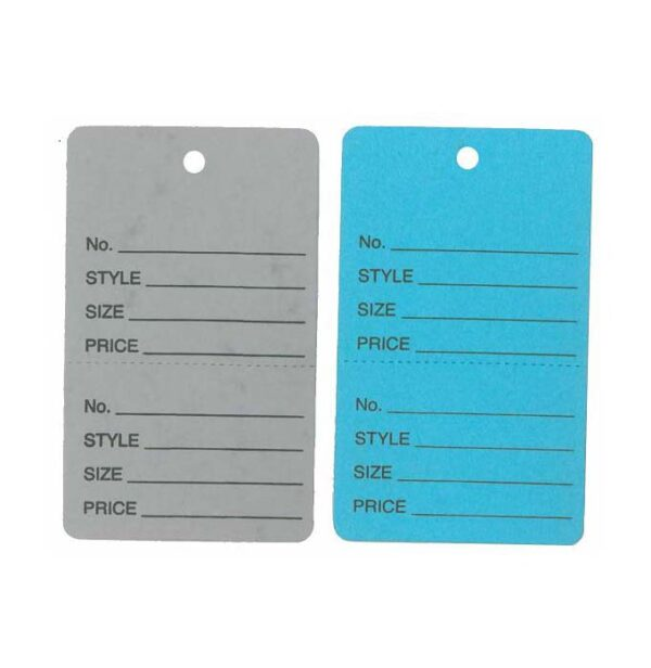 Coloured Two part tags for marking clothing