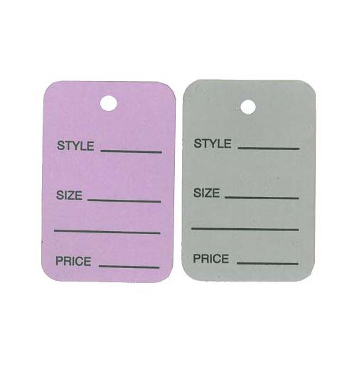coloured one part marking tags for clothing